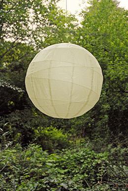 Large Paper Lantern Round Irregular Ribbing Beige 24in