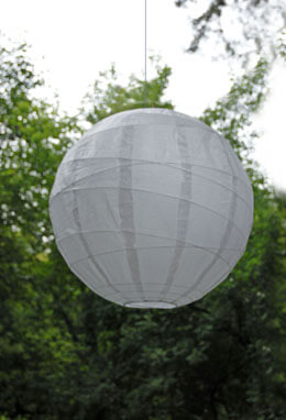 Large Paper Lantern Round Irregular Ribbing White 24in