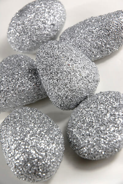 Faux Rocks Silver Glitter (Pack of 6)