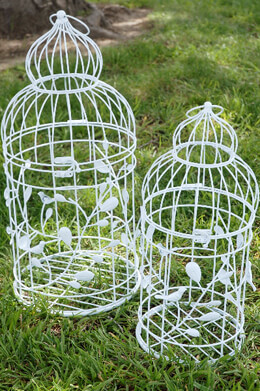 Tall Round Vintage Bird Cages  Set of 2