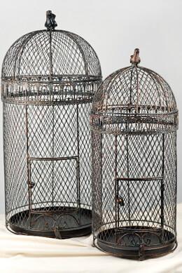 "Large Vintage Pigeon Bird Cages  30"" & 25"""