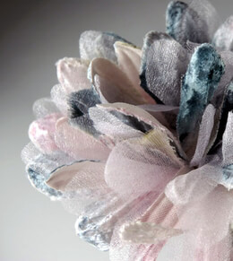 "Lavender, blue and green velvet & organdy 4"" Mum"