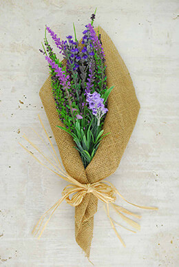 Lavender Bouquet With Burlap Wrap 14in Artificial