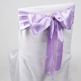 Lavender Satin Chair Sashes (Pack of 10)