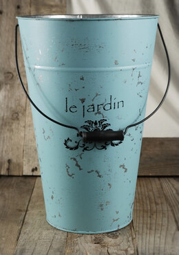 "Flower Market Bucket Blue ""Le Jardin"" 15in"