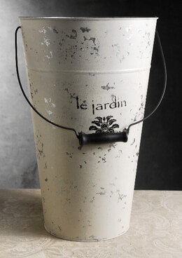 "18"" Le Jardin White French Flower Market Buckets  with handle"