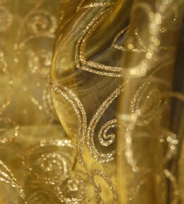 "Le Sheer Mystere Gold Sheer Fabric w/ Swirl Glitter 25"" x 3 yds"