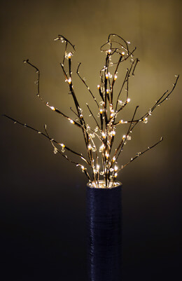 3 Crystal & Pearl Tipped LED Branches 39in Warm White 45CT, Battery Operated, Timer