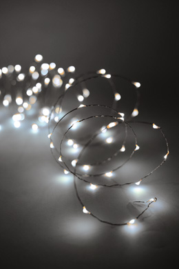 Firefly Cool White Silver Wire 30 LED String Lights Battery Operated. 6.5ft