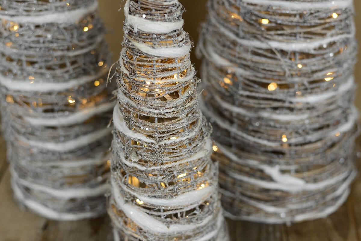 LED Lighted Whitewash Grapevine Cone Christmas Trees