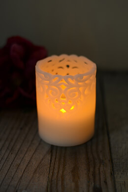 LED Lace Wax Pillar Candle 3x4in