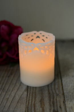 "Flameless LED Battery Operated 4"" Lace Wax Pillar Candle"