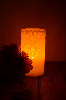 LED Lace Wax Pillar Candle 3x6in