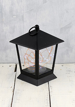 LED Lantern with Fairy Lights Black 6.5in