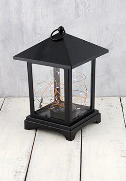 LED Lantern with Fairy Lights Black 9in