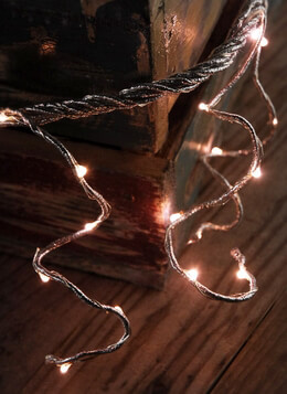 Silver Rope with 60 Rose LEDs Battery Operated 6 Feet  w/ Timer