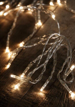 LED Lighted Strands 24 Warm White Micro Lights 13.5' Battery Operated