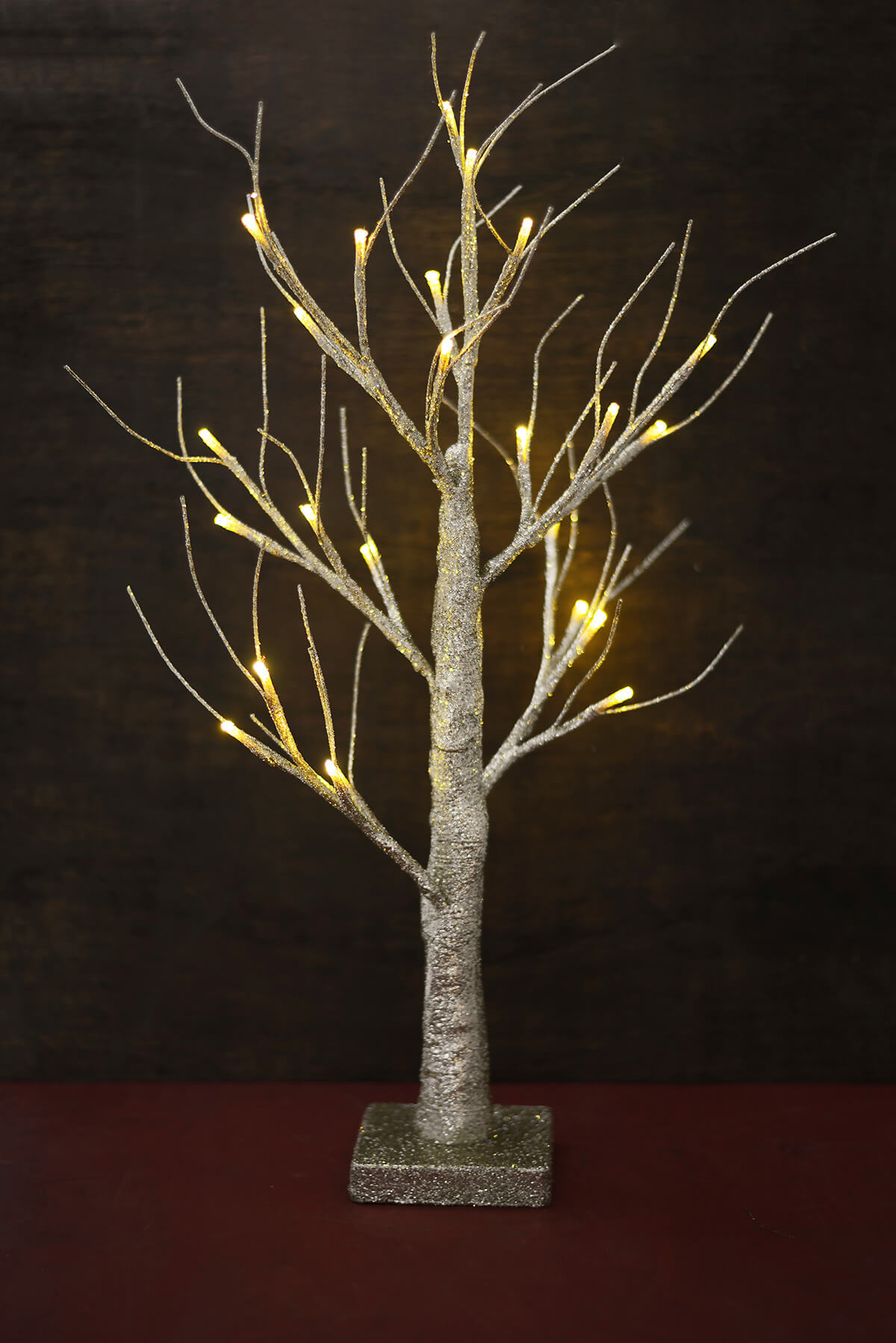 Gold Glitter Wedding Tree With Lights 24in Battery Op