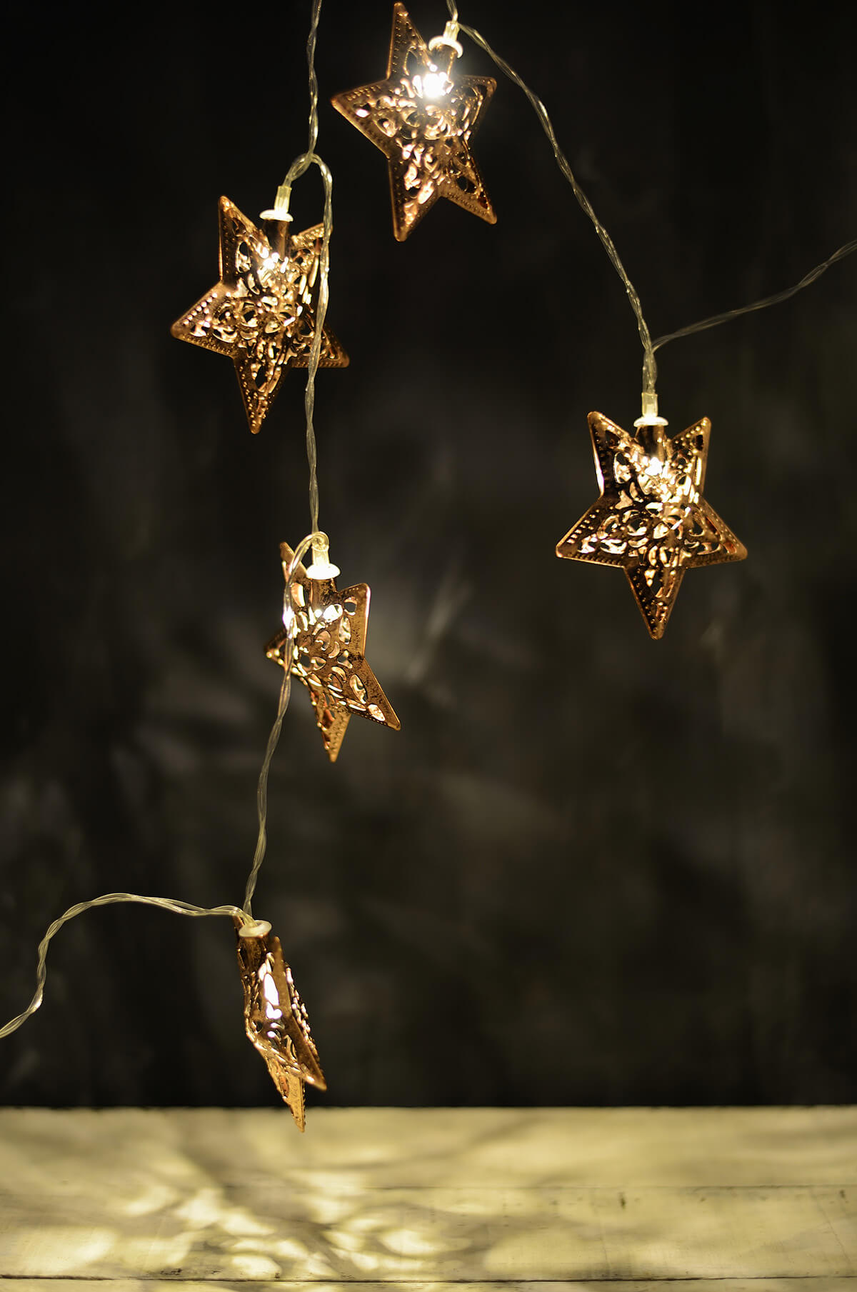 Copper Star String Lights : Copper Stars LED Battery Op.,6 String Lights Warm White 10ct