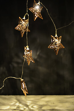 LED Lights Copper Star Warm White - 10ct
