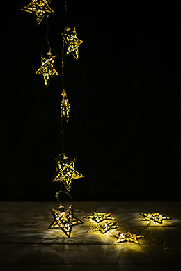 LED Lights Gold Star Warm White 10ct - 6ft