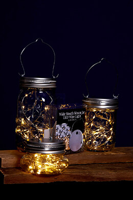 LED Mason Jar Lights Warm White (Wide Mouth)