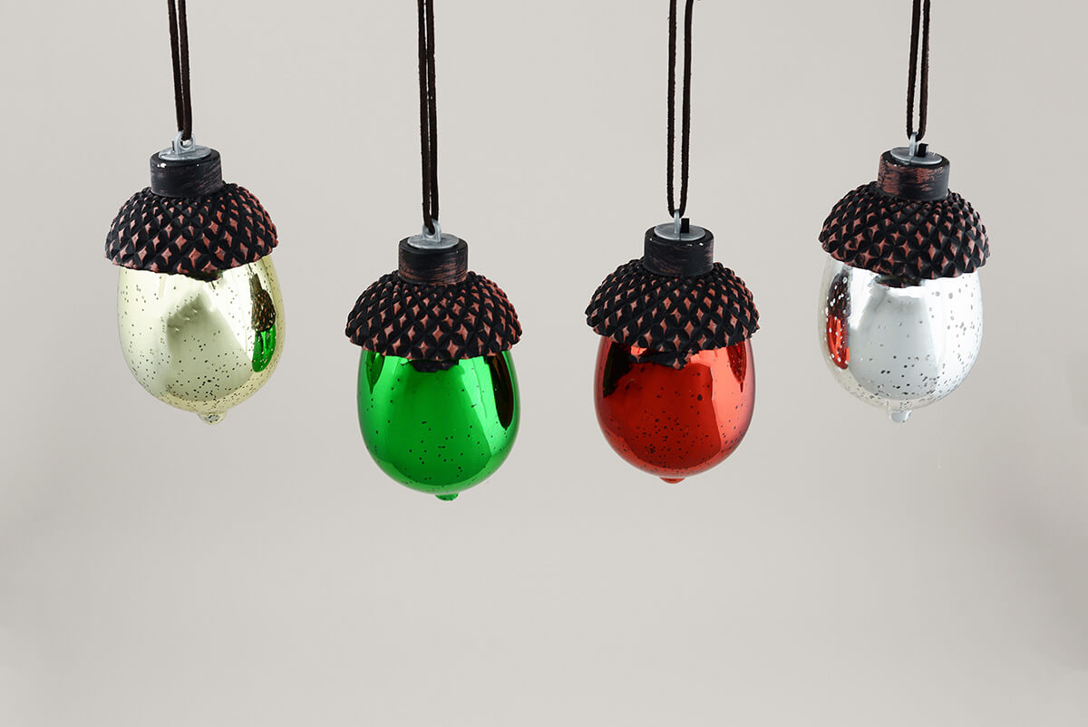 8 led mercury glass acorn ornaments for Acorn decoration