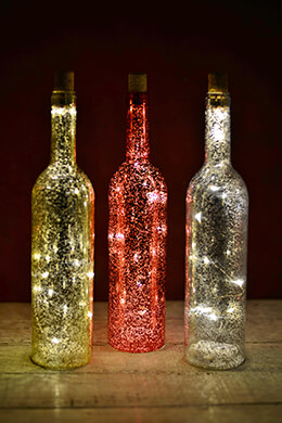 LED Mercury Glass Bottles 13.5in (Set of 3)
