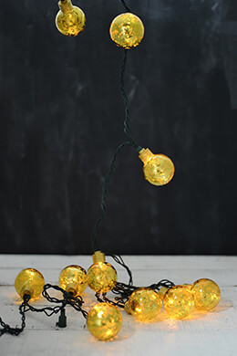 Gold Mercury Bulbs LED String Lights 10'