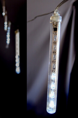 Battery Operated LED Meteor Snowfall White Light Tubes