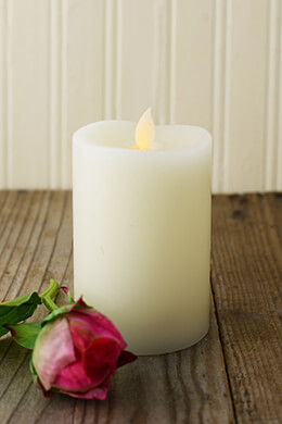 Battery Operated Candles, 3x5 Bisque,Vanilla Scent, Wavy Edge Motion Flame, LED