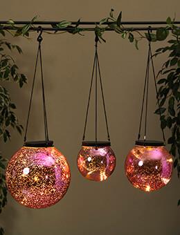 LED Orb Lights Mercury Glass Pink (Set of 3)
