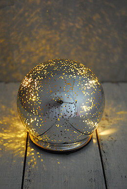 LED Orb Light Mercury Glass Silver 4.75in