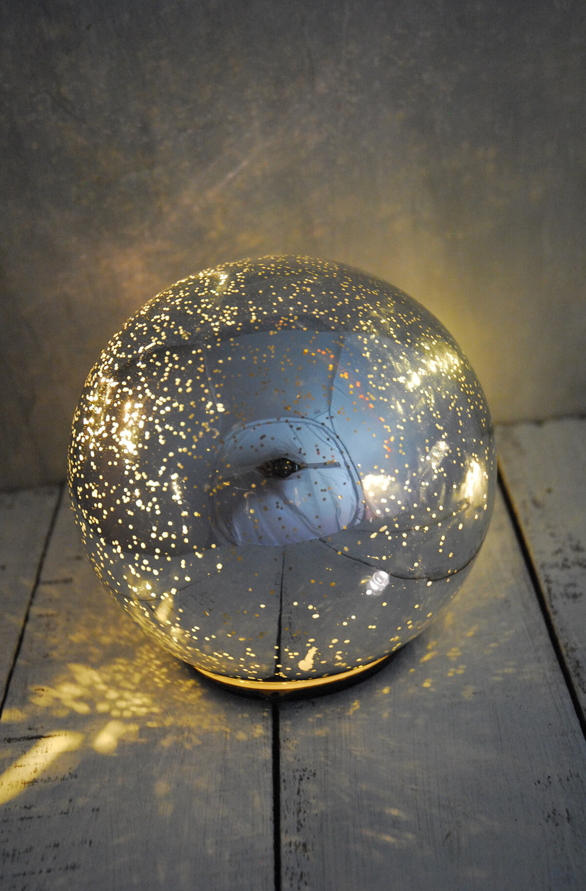 LED Orb Light Mercury Glass Silver 5in
