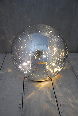 LED Orb Light Mercury Glass Silver 7in