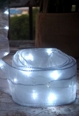 30 LED White Organza Ribbon Cool White  8FT, Battery Operated