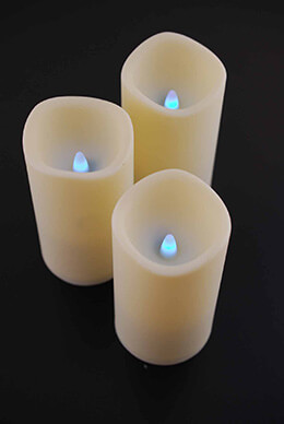 3 RGB LED Pillar Candles, Remote Control, 12 Colors, 3x6, Three Modes
