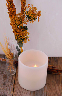 3 Wicks Bisque LED Wax Pillar Candle, Timer, Flickering 6x6