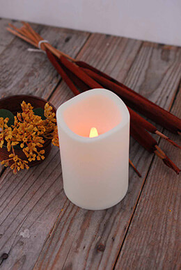 LED Pillar Candle Ivory 3x4in