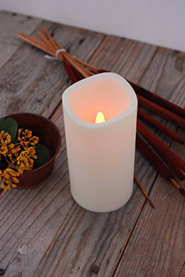 LED Pillar Candle Ivory 3x6in