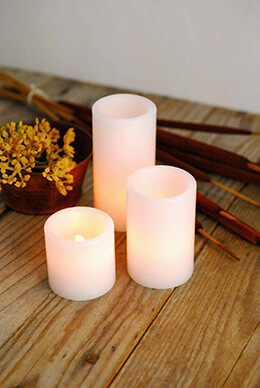 LED Wax Pillar Candle (Set of 3)