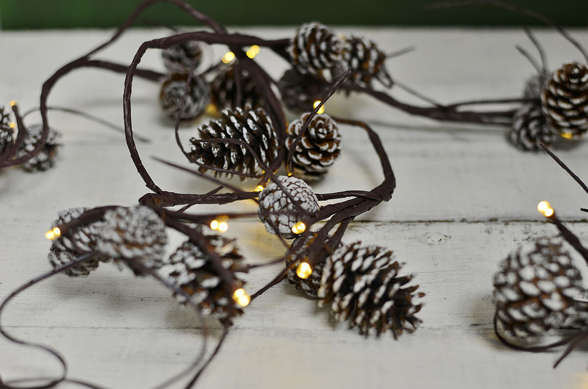 LED String Lights With Pine Cones 39ct Battery Op Warm
