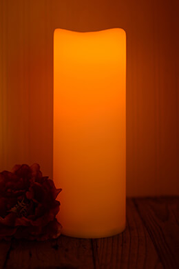 LED Resin Candle Wavy Edge 4.5x12in
