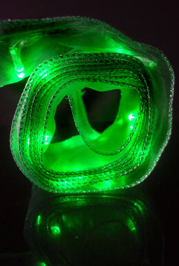 Green Organza Ribbon Light String, 20 LED 7FT Battery Operated