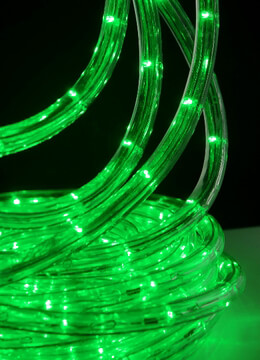 GREEN Outdoor LED Rope Light, 33 Feet, Clear Tube, AC Plug In
