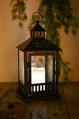 LED Solar Lantern Solar Black 14in