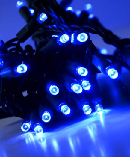 Blue LED 5mm Polka Dot, Outdoor 70CT String Lights  23ft Green Cord, Commercial Quality