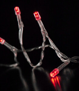 LED String Lights Battery Operated in Red 10ft