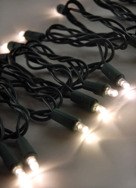 LED String Lights 60CT Warm White Green Cord 16.5ft, End to End, Up to 42 Strings, Outdoor