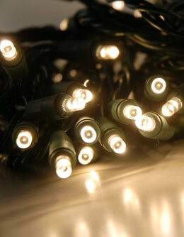 LED String Lights Warm White Green Cord Wide Angle LED, 16 Functions 16.5ft